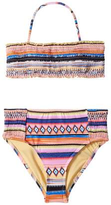 Hobie Kids Shock This Way Smocked Bandeau Smocked High-Waist Pants Set Girl's Swimwear Sets