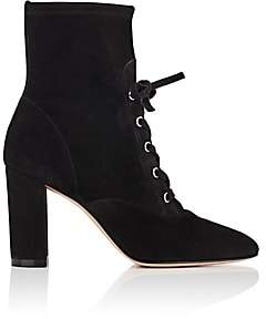Gianvito Rossi Women's Suede Lace-Up Ankle Boots-Black