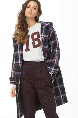 Forever 21 Hooded Plaid Coat