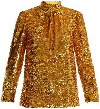 MSGM Tie-neck sequin-embellished top
