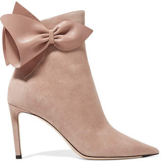Jimmy Choo Kassidy 85 Leather-trimmed Suede Ankle Boots - Beige