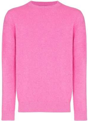 The Elder Statesman neon pink crew neck cashmere jumper
