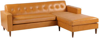 808 Home Eleanor Leather Mid-Century Modern Right Sectional Chaise Sofa