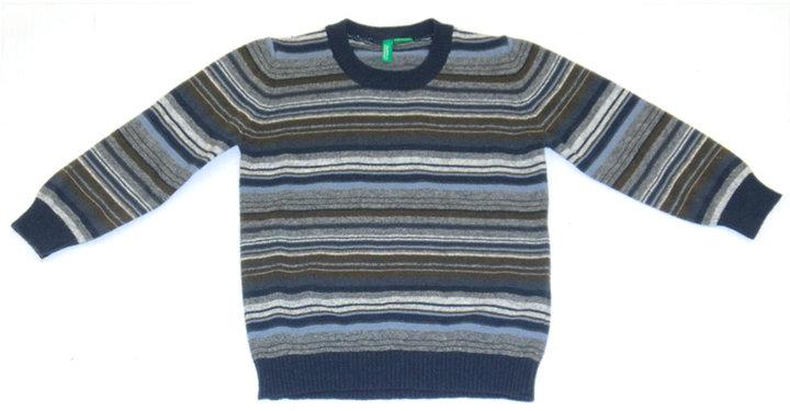 Benetton Baby Boys 12-24 Months Navy Striped Crew-Neck Sweater
