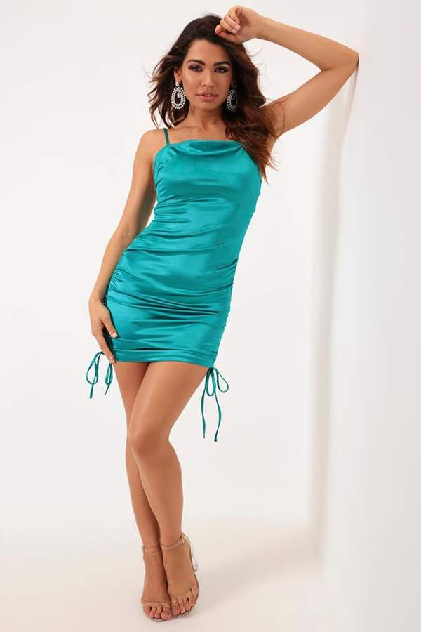 Isawitfirst Turquoise Ruched Side Detail Satin Mini Dress
