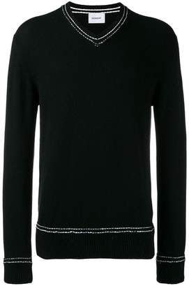 Dondup v neck stitch detail sweater