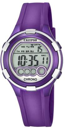 Calypso Women's Digital Watch with LCD Dial Digital Display and Purple Plastic Strap K5692/5