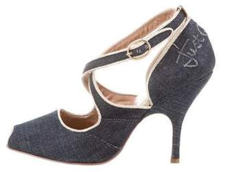 Just Cavalli Denim Peep-Toe Pumps