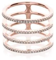 Ef Collection Diamond & 14K Rose Gold Multi Spiral Midi Ring