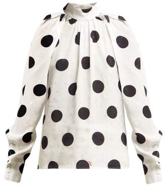 MSGM Polka Dot Jacquard Blouse - Womens - White Black