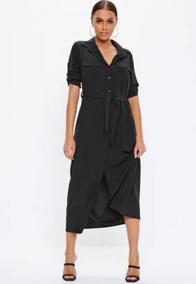 Missguided Black Long Sleeve Utility Midi Shirt Dress, Black