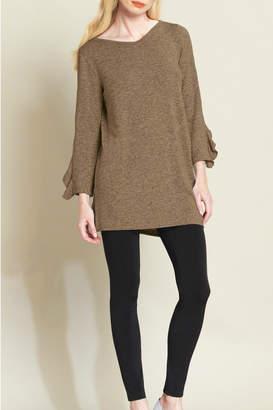 Clara Sunwoo Ruffle Cuff Sweater Tunic w Side Vent