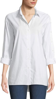 Lafayette 148 New York Trinity Stanford Stripe Blouse with Buttoned Sleeves