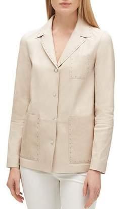 Lafayette 148 New York Jolisa Button-Front Glazed Weightless Lambskin Leather Jacket w/ Grommets