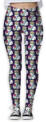 KJ Clothing Go Frog Navy Printed Yoga Pants Stretchy Workout Soft Workout Gym Leggings Tights Elastic