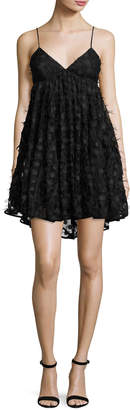Milly Katie Spaghetti-Strap Embroidered Lace Dress, Black