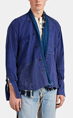Greg Lauren Men's Herringbone-Weave Cotton Shirt Jacket - Blue