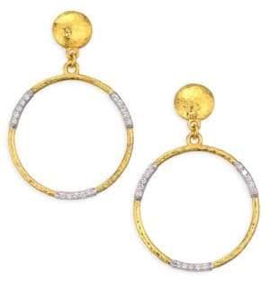 Gurhan 22K Gold& Diamond Openwork Hoop Earrings