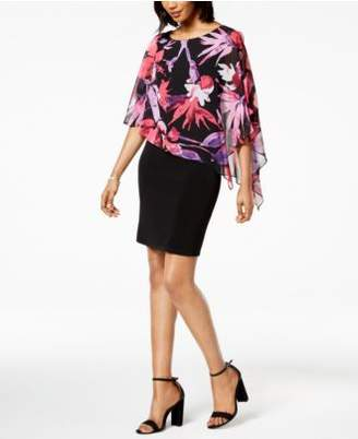 Connected Floral-Print Cape-Overlay Dress, Regular & Petite