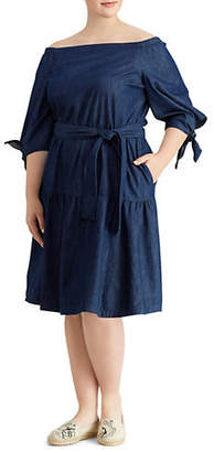 Lauren Ralph Lauren Plus Denim Fit-and-Flare Dress