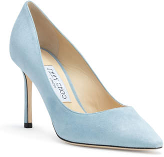 Jimmy Choo Romy 85 Light Blue Suede Pumps