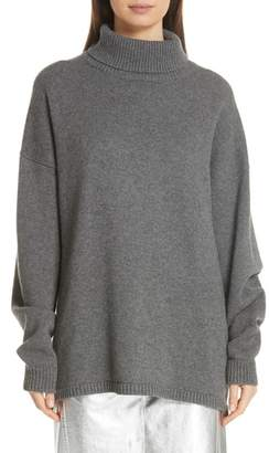 Tibi Turtleneck High/Low Cashmere Sweater