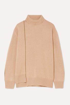 Agnona Striped Cashmere Turtleneck Sweater - Beige