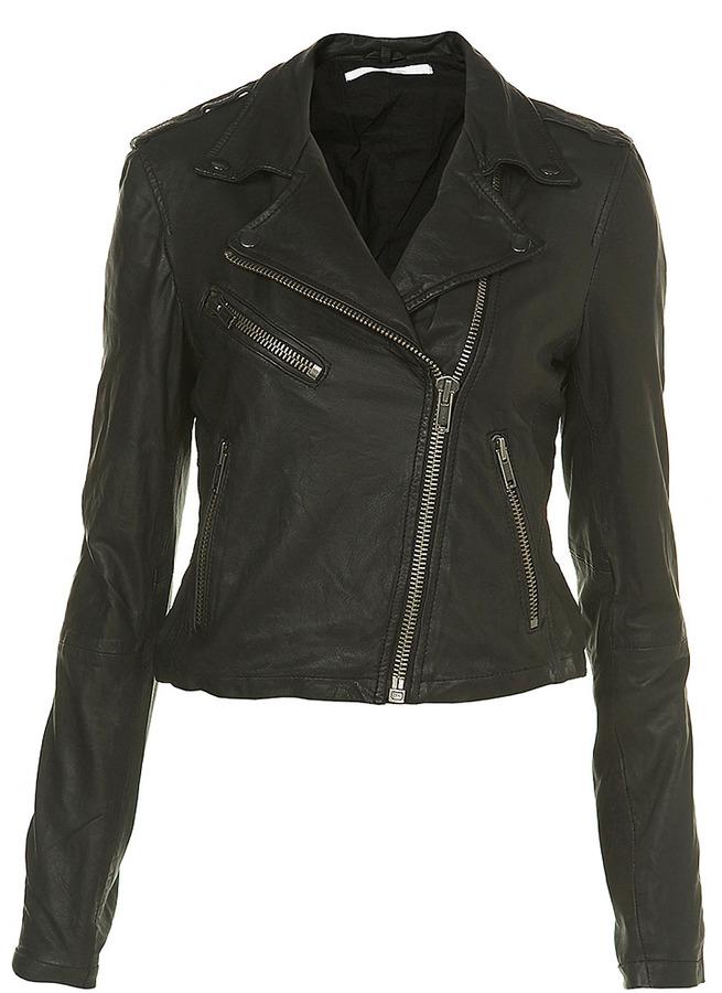 Black Leather Biker Jacket By Boutique
