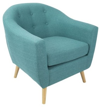 Lumisource Rockwell Mid Century Modern Accent Chair in Teal
