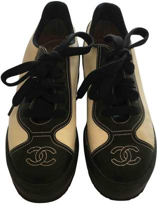 Chanel Ecru Leather Trainers