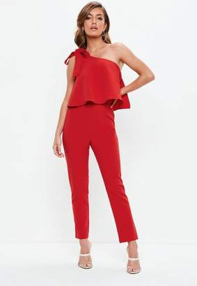 Missguided Red One Shoulder Bow Romper