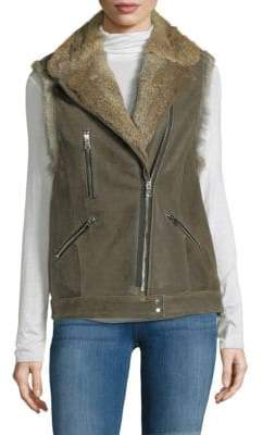 Rabbit Fur-Trim Leather Vest