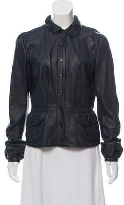 Burberry Ruffled Leather Jacket