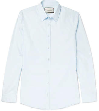 Gucci Blue Slim-Fit Cotton-Poplin Shirt