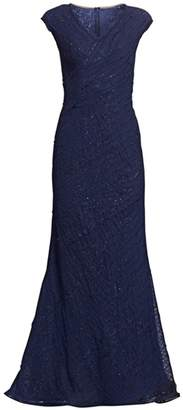 Rene Ruiz Collection V-Neck Sequined Chiffon Gown