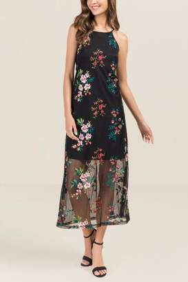 Daughtry Floral Mesh Trap Maxi Dress - Black
