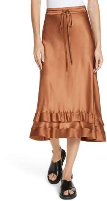 Lee MATHEWS Rose Silk Satin Ruffle Hem Skirt