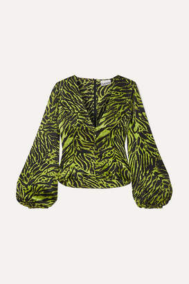 Ganni Tiger-print Silk-blend Satin Top - Green