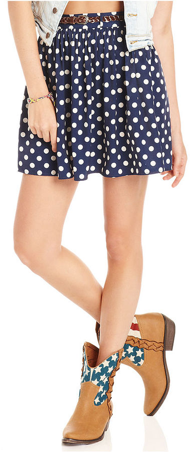American Rag Juniors Skirt, Belted Polka-Dot-Print A-Line