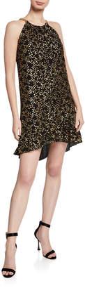 MICHAEL Michael Kors Chain Halter Metallic Star High-Low Dress