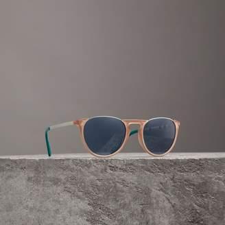 Burberry Keyhole Pilot Round Frame Sunglasses, Beige