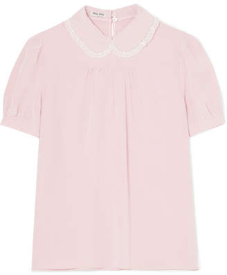 Miu Miu Lace-trimmed Silk-chiffon Blouse - Blush