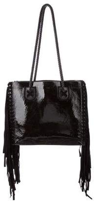 Tamara Mellon Rock Fringed Patent-Leather And Suede Tote
