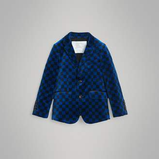 Burberry Childrens Chequer Stretch Velvet Jacket