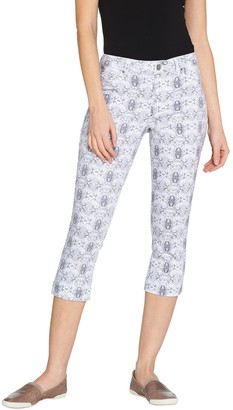Laurie Felt Power Silky Denim Printed Capri Pull-On Jeans