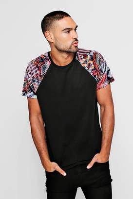 boohoo Velour Aztec Raglan T-Shirt