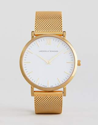 Larsson & Jennings Lugano Mesh Watch In Gold 40mm