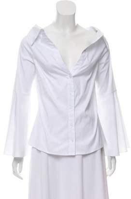 Caroline Constas Bell-Sleeve Button-Up Top