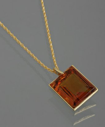 Kenneth Jay Lane amber square crystal pendant necklace