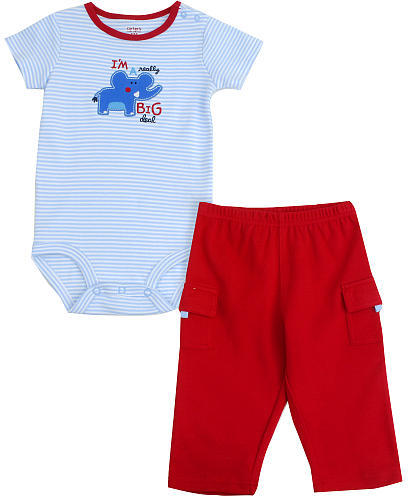 Carter's Elephant 2 Piece Set - Blue & Red (9 Months)